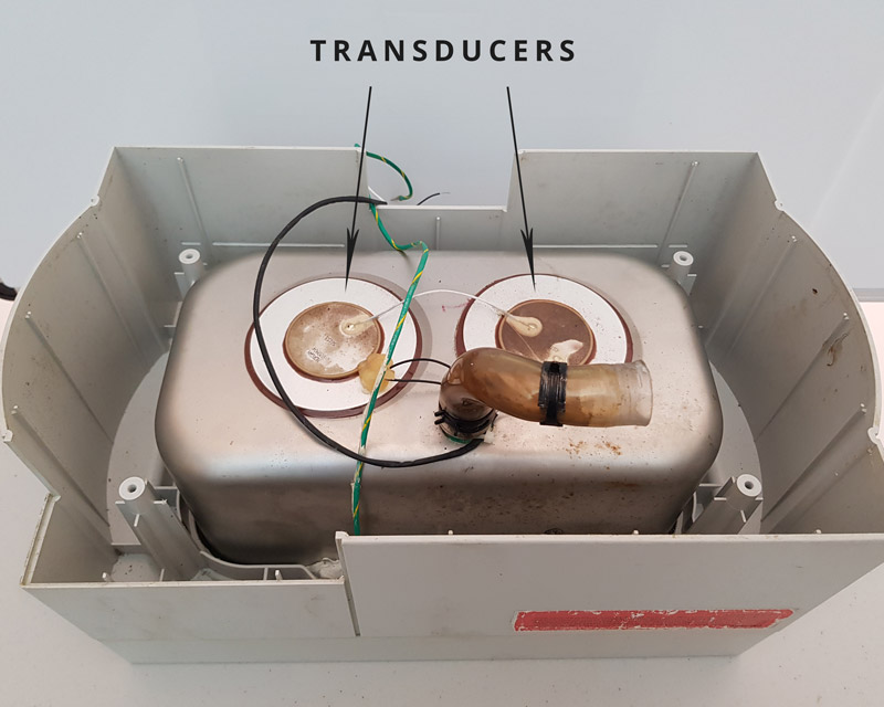 ultrasonic cleaner showing transducers